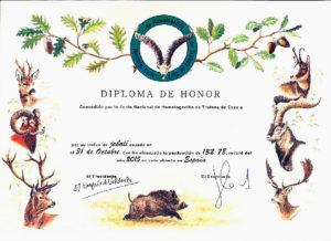 Diploma homologacion trofeo de jabali, medicion de trofeos cic, premios cic, junta nacional homologacion trofeos caza CIC